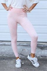Peach - Close Up of the High-Waisted Ribbed Leggings