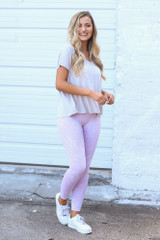 Lavender - Dress Up model wearing the High-Waisted Ribbed Leggings