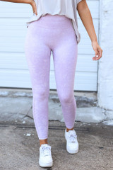 Lavender - Model wearing the High-Waisted Ribbed Leggings