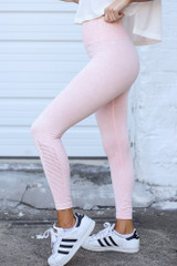 High-Waisted Ribbed Leggings in Peach Side View