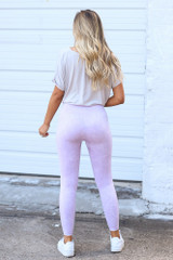 High-Waisted Ribbed Leggings in Lavender Back View