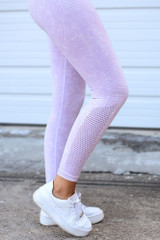 High-Waisted Ribbed Leggings in Lavender Side View