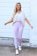 Dress Up model wearing the High-Waisted Ribbed Leggings in Lavender with an oversized tee