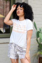 Model wearing the Weekend Graphic Tee