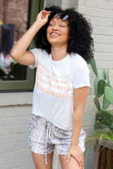 White - Weekend Graphic Tee from Dress Up