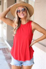 Red - Model wearing the Jersey Knit Tank Top