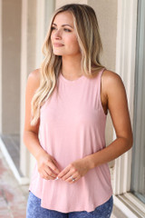 Blush - Model wearing the Jersey Knit Tank Top with denim jeans