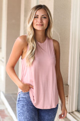 Blush - Dress Up model wearing the Jersey Knit Tank Top with acid wash jeans