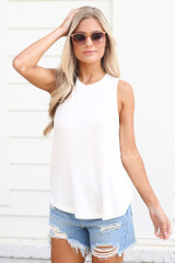 White - Model wearing the Jersey Knit Tank Top with square sunglasses