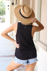 Jersey Knit Tank Top in Black Back View