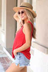 Jersey Knit Tank Top in Red Side View