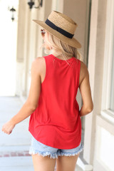 Jersey Knit Tank Top in Red Back View