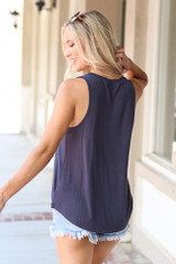 Jersey Knit Tank Top in Navy Back View