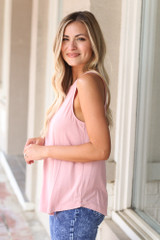 Jersey Knit Tank Top in Blush Side View