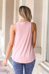Jersey Knit Tank Top in Blush Back View