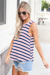 Jersey Knit Tank Top in Red/White/Navy Side View