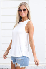 Jersey Knit Tank Top in White Side View