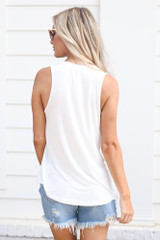Jersey Knit Tank Top in White Back View