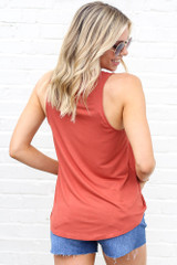 Jersey Knit Tank Top in Rust Back View