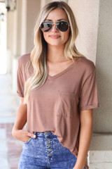 Mocha - Model wearing the Ultra Soft Pocket Tee with acid wash jeans
