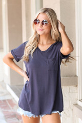 Navy - Model wearing the Ultra Soft Pocket Tee with denim shorts