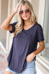 Navy - Model wearing the Ultra Soft Pocket Tee with distressed denim shorts