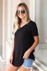Ultra Soft Pocket Tee in Black Side View