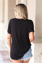 Ultra Soft Pocket Tee in Black Back View