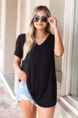 Ultra Soft Pocket Tee in Black Front View