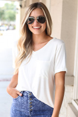 Ultra Soft Pocket Tee in Ivory Front View