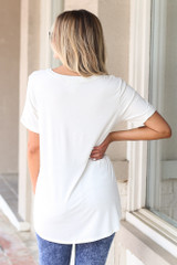 Ultra Soft Pocket Tee in Ivory Back View