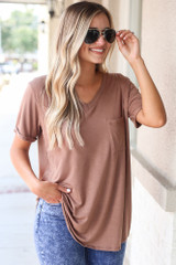 Ultra Soft Pocket Tee in Mocha Front View
