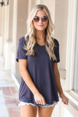 Ultra Soft Pocket Tee in Navy Front View
