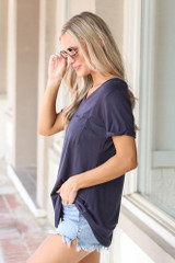 Ultra Soft Pocket Tee in Navy Side View