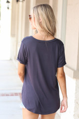 Ultra Soft Pocket Tee in Navy Back View