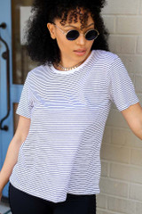 White/Black - Striped Relaxed Fit Tee