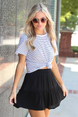 Dress Up model wearing the Tiered Skirt in Black