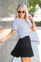 Tiered Skirt in Black Side View