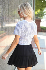Tiered Skirt in Black Back View