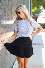 Tiered Skirt in Black Front View