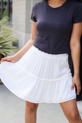 Ivory - Model wearing the Tiered Skirt