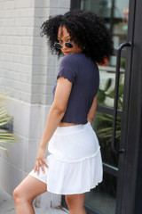 Tiered Skirt in Ivory Side View