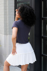 Tiered Skirt in Ivory Back View