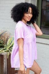 Babydoll Top in Lavender Side View