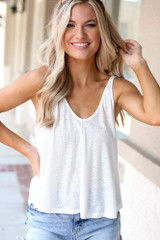 White - Model wearing the Relaxed Fit Tank