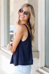 Relaxed Fit Tank in Navy Side View