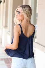 Relaxed Fit Tank in Navy Back View