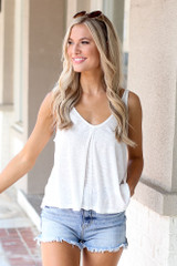 Relaxed Fit Tank in White Front View