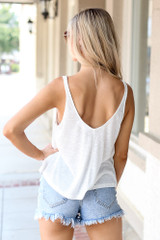 Relaxed Fit Tank in White Back View