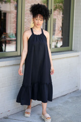 Black - High Neck Ruffled Midi Dress from Dress Up